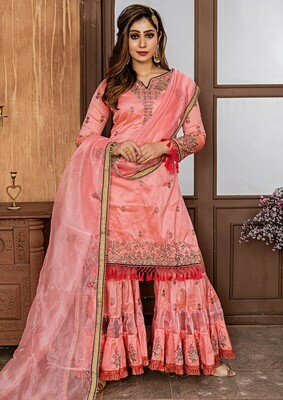 Exotic Zorba Rose Pink Color Party Wear Sharara Suit