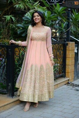 Desiring Peach Cream Color Georgette Top With Embroidery Work
