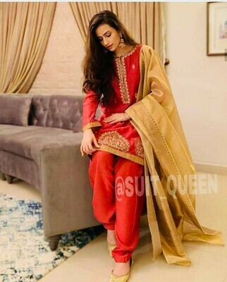 Designing Red Dress Maslin Silk With Embroidery Work