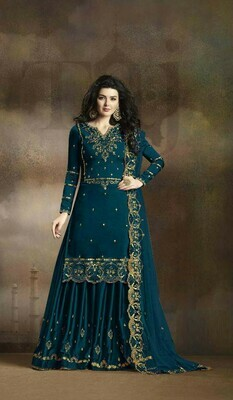 Designer Mesmeric Heavy Rangoli Georgette Teal Blue Color Wedding Function Suit