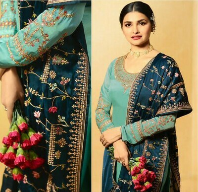 Teal Green Color Embroidery Suit For Girls