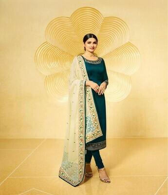 New  Green  Colored  Salwar  Suit With  Embroidry Work
