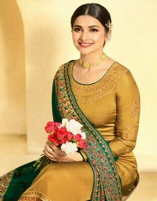 Embroidery Work Yellow Colored Salwar Suit