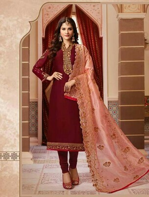 Embroidery Work Maroon Color Party Wear Slawar Suit