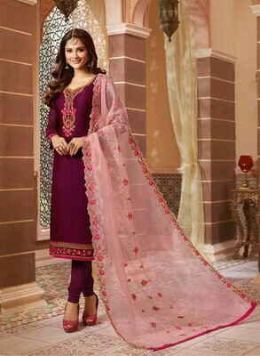 Rani Pink Embroidery Work Suit