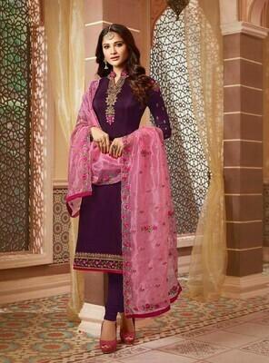 Purple Color Party Wear Embroidery Work Slawar Suit