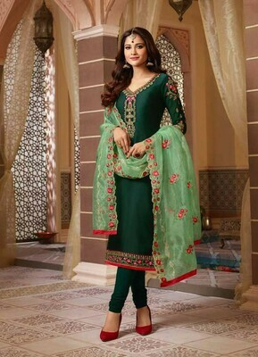 Embroidery Work Green Color Salwar Suit For Girls
