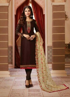 Latest Brown Color Georgette Straight Suit For Girls
