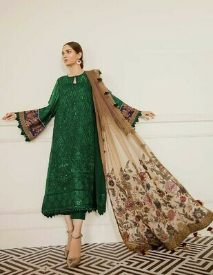 Green Color Embroidery Work Party Wear Suit