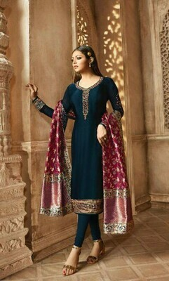 New Navy Blue Colored Salwar Suit With Embroidery Work