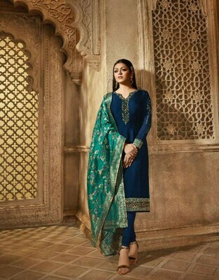 Ethnic Teal Blue Colored Salwar Suit With Embroidery Work