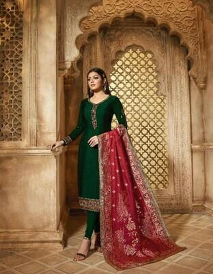 Green Color Salwar Suit With Beautiful Dupatta