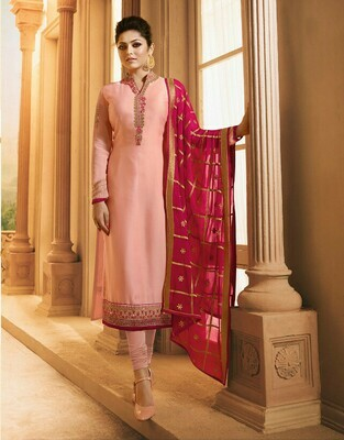 Light Pink Color Party Wear Georgette Salwar Suit Online