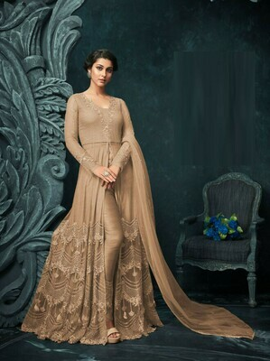 Trendy Cream Color Party Wear Embroidery Beautiful Salwar Suit