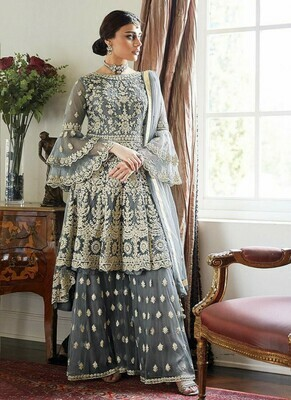 Latest Grey Color Embroidery Work Suit With Embroidery Plazo
