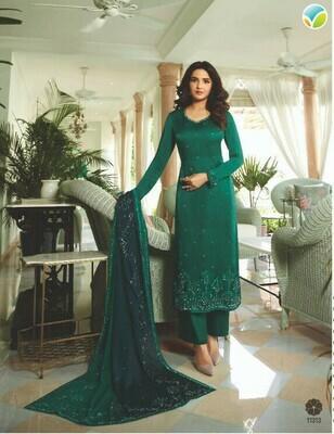 Party Wear Dark Green Color Salewar Suit