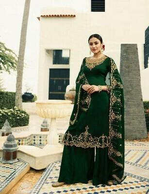Dark Green Colour Salwar Suit For Girls