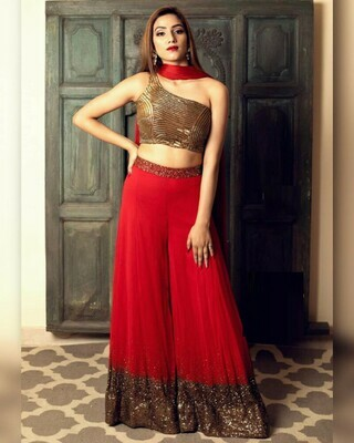 Party Wear Red Color Sequin Work Palazzo Suit