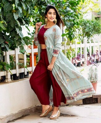 Party Wear Sky Blue Printed Koti With Palazzo Suit
