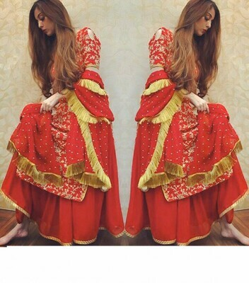 Designer Red Color Palazzo Suit