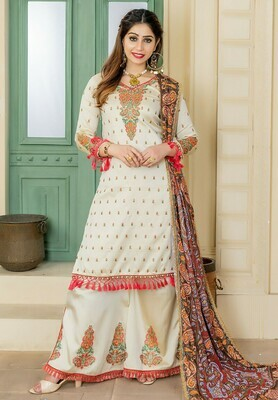Stylish Cream Color Party Wear Embroidery Salwar Suit