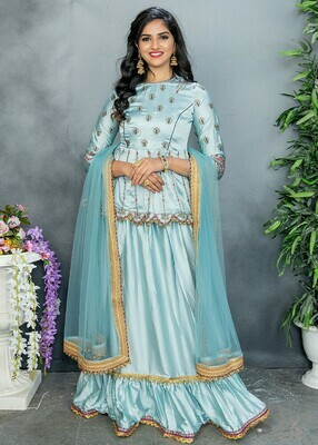 Stunning Pastel Blue Color Party Wear Embroidery Sharara Suit
