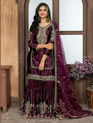 Charming  Wine Color Malai Satin Party Wear Sharara Suit
