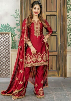 Wonderful Party Wear Maroon Color Rangoli Embroidered Suit