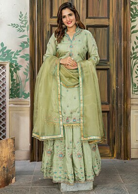 Impressive  Fabric Party Wear Olive Green Color Embroidered Sharara Suit