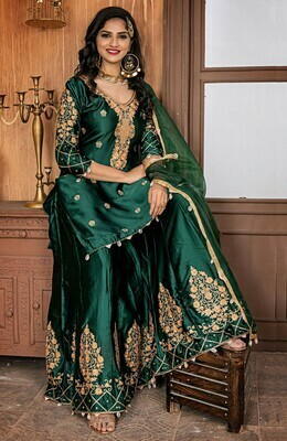 Mesmeric Party Wear Malai Satin Bottle Green Color  Sharara Suit