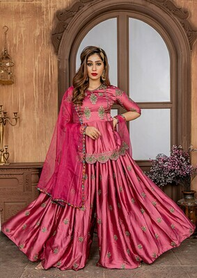 Wonderful Malai Satin Pink Color Party Wear Sharara Suit