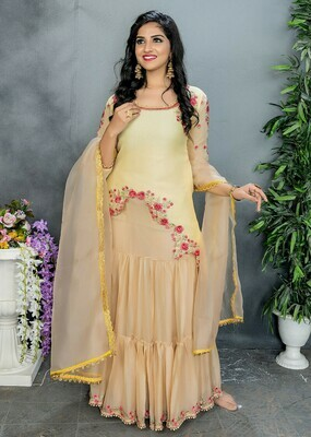 Stylish Light Yellow Color Party Wear Embroidery Sharara Suit