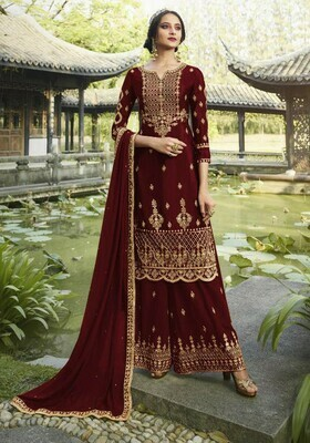 Demanding Red Color Embroidery Work Sharara Suit