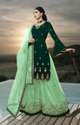 Heavy Faux Georgette Embroidered Green Sharara Suit