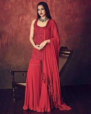 Sonakshi sinha  red color Georgette Party wear sarara suit