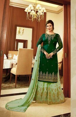 Dazzling Green Color Embroidery Suit