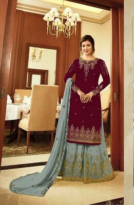 Stunning Maroon Color Semi-Stitched Suit