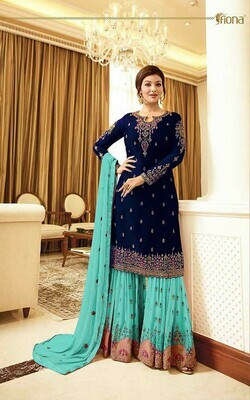 Glossy Blue Color Embroidery Suit And Plazzo