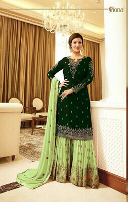 Stunning Green Color Semi-Stitched Suit And Plazzo