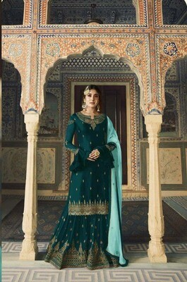 Fantastic Firozi Color Georgette Embroidery Wedding  Suit