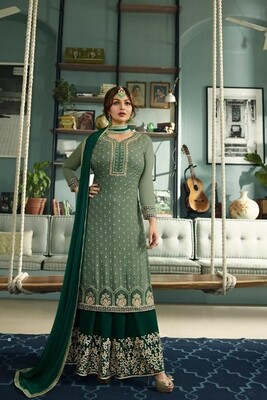 Magnetic Green Color Heavy Semi-Stitched Suit