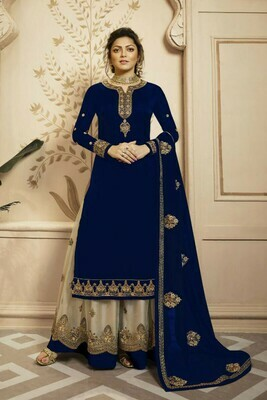 Shining Navy Blue Color Embroidery Work Salwar Suit Lehenga