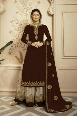 Glowing  Brown Color Heavy Faux Georgette With Embroidery Salwar Suit Lehenga