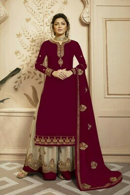 Beautiful  Maroon Color Faux Georgette With Heavy Embroidery Wedding Wear Salwar Suit Lehenga