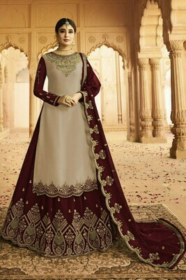 Stylish Beige And Maroon Color Heavy Faux Georgette With Embroidery Salwar Suit Lehenga