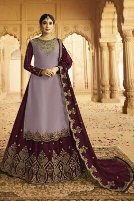 Beautiful Light Purple And Maroon Color Heavy Faux Georgette With Embroidery Salwar Suit Lehenga