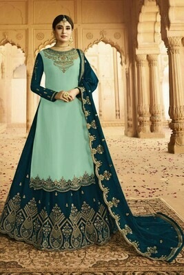 Stunning  Sea Green And Peacock Blue  Color Heavy Faux Georgette With Embroidery Salwar Suit Lehenga