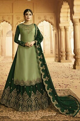 Amazing Light Mehndi  And Green Color Heavy Faux Georgette With Embroidery Salwar Suit Lehenga