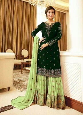 Heavy Wedding Wear Green Color Embroidery Work Sharara Suit