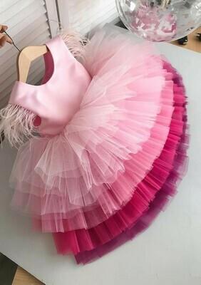 Pink Net Kids Party Wear Frock